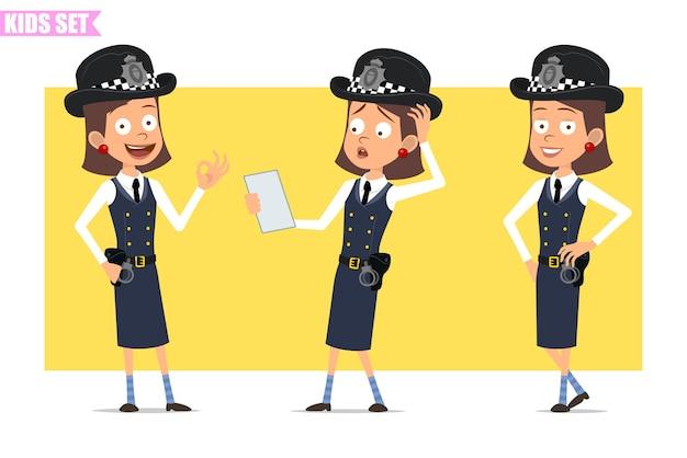 Karikatur flacher lustiger britischer polizist mädchencharakter in helmhut und uniform. mädchen posiert, liest notiz und zeigt okay zeichen.