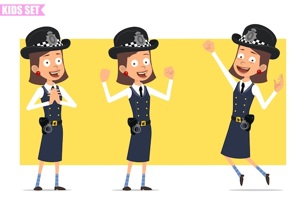Karikatur flacher lustiger britischer polizist mädchencharakter in helmhut und uniform. mädchen stehend, springend und muskeln zeigend.
