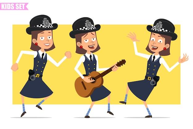 Karikatur flacher lustiger britischer polizist mädchencharakter in helmhut und uniform. mädchen tanzen, springen, singen und auf der gitarre spielen.