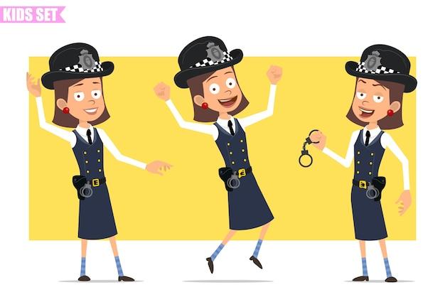 Karikatur flacher lustiger britischer polizist mädchencharakter in helmhut und uniform. mädchen tanzen, springen und handschellen halten.