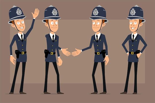 Karikatur flacher lustiger britischer polizistcharakter im blauen helmhut und in der uniform. junge händeschütteln und willkommensgeste zeigen.