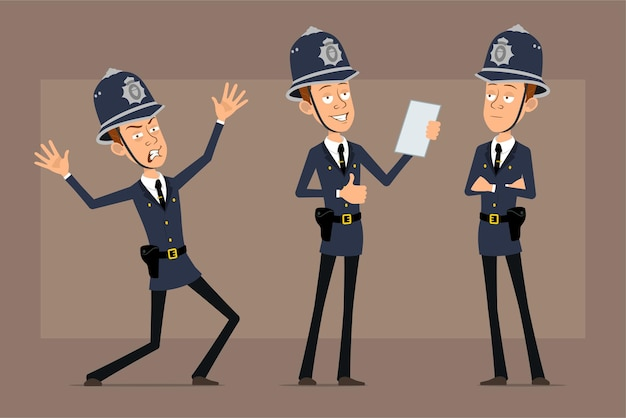 Karikatur flacher lustiger britischer polizistcharakter im blauen helmhut und in der uniform. junge liest dokument und zeigt daumen hoch zeichen.