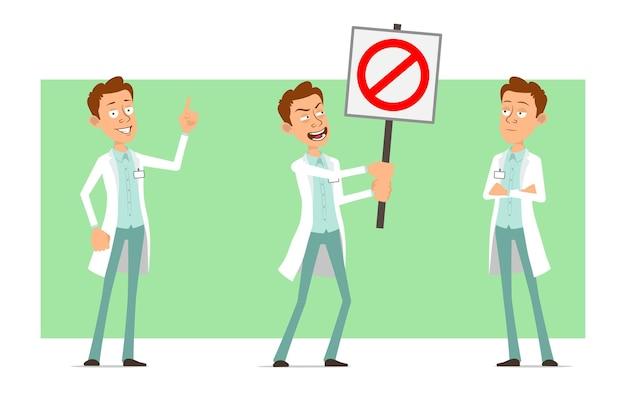 Karikatur flacher lustiger doktormanncharakter in der weißen uniform mit abzeichen. junge, der aufmerksamkeitsgeste zeigt und kein eintrittsstoppschild hält.