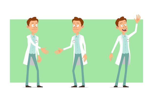 Karikatur flacher lustiger doktormanncharakter in der weißen uniform mit abzeichen. junge händeschütteln und willkommensgeste zeigen.