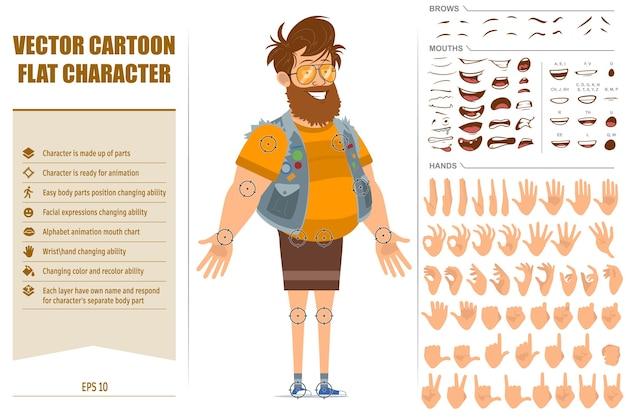 Karikatur flacher lustiger fetter hipster-manncharakter im wams und in der sonnenbrille. bereit für animation. gesichtsausdrücke, augen, brauen, mund und hände sind einfach zu bearbeiten. auf weißem hintergrund isoliert.
