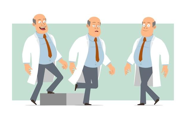 Karikatur flacher lustiger fetter kahler doktormanncharakter in weißer uniform mit krawatte. erfolgreicher müder junge, der zu seinem ziel geht. bereit für animation. auf grünem hintergrund isoliert. einstellen.