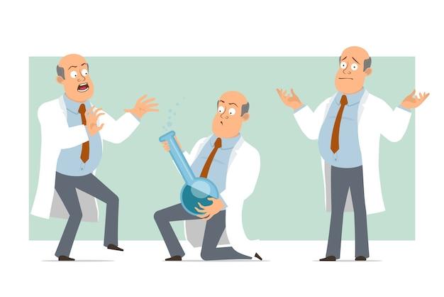 Karikatur flacher lustiger fetter kahler doktormanncharakter in weißer uniform mit krawatte. junge erschreckte und hielt chemischen kolben mit flüssigkeit. bereit für animation. auf grünem hintergrund isoliert. einstellen.