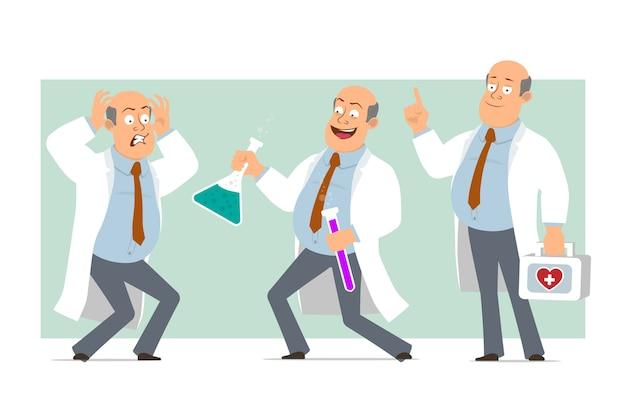 Karikatur flacher lustiger fetter kahler doktormanncharakter in weißer uniform mit krawatte. junge erschrocken und hält chemische flaschen mit flüssigkeit. bereit für animation. auf grünem hintergrund isoliert. einstellen.