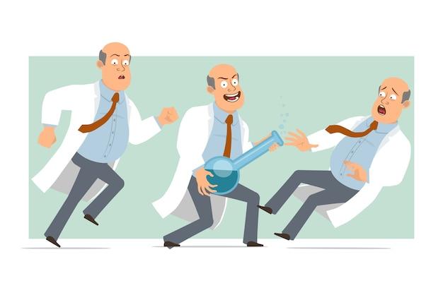 Karikatur flacher lustiger fetter kahler doktormanncharakter in weißer uniform mit krawatte. junge fällt und hält chemischen kolben mit flüssigkeit. bereit für animation. auf grünem hintergrund isoliert. einstellen.