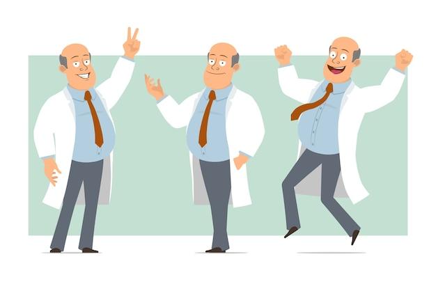 Karikatur flacher lustiger fetter kahler doktormanncharakter in weißer uniform mit krawatte. junge posiert, springt und zeigt friedenszeichen. bereit für animation. auf grünem hintergrund isoliert. einstellen.