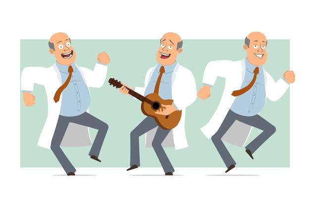 Karikatur flacher lustiger fetter kahler doktormanncharakter in weißer uniform mit krawatte. junge springt, tanzt und spielt auf der gitarre. bereit für animation. auf grünem hintergrund isoliert. einstellen.