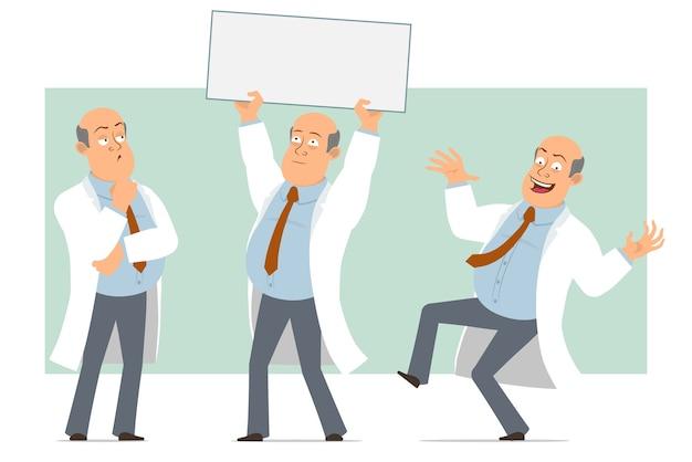 Karikatur flacher lustiger fetter kahler doktormanncharakter in weißer uniform mit krawatte. junge springt und hält leeres zeichen für text. bereit für animation. auf grünem hintergrund isoliert. einstellen.