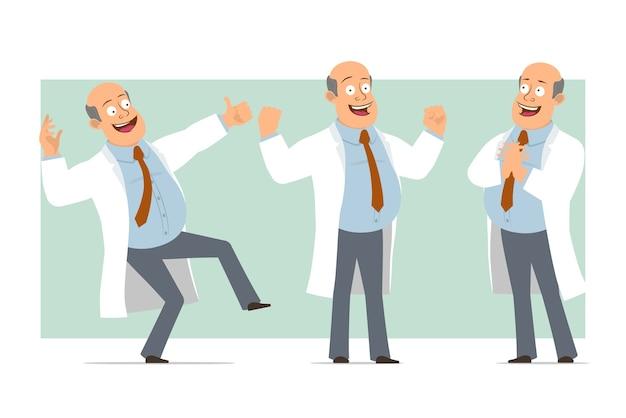 Karikatur flacher lustiger fetter kahler doktormanncharakter in weißer uniform mit krawatte. junge zeigt muskeln und daumen hoch geste. bereit für animation. auf grünem hintergrund isoliert. einstellen.
