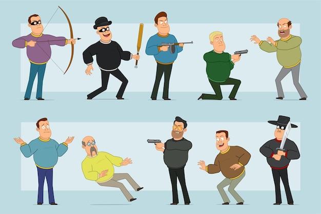 Karikatur flacher lustiger fetter lächelnder manncharakter in den jeans und im pullover. junge hält baseballschläger, pistole, schießen von gewehrpistole