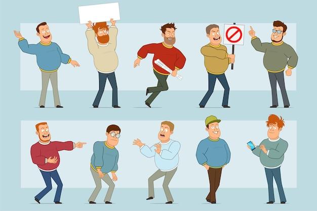 Karikatur flacher lustiger fetter lächelnder manncharakter in den jeans und im pullover. junge müde, leeres zeichen für text und kein eintrittsstoppschild haltend