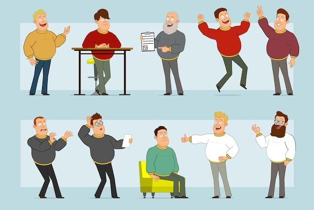 Karikatur flacher lustiger fetter lächelnder manncharakter in den jeans und im pullover. junge ruht sich aus, springt, zeigt daumen hoch, frieden und okay zeichen