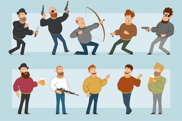 Karikatur flacher lustiger fetter lächelnder manncharakter in den jeans und im pullover. junge trinkt bier, schießt von pistole und bogen