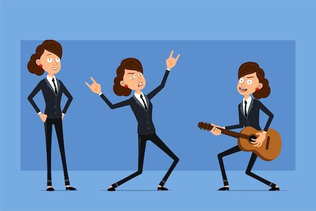 Karikatur flacher lustiger geschäftsfrauencharakter im schwarzen anzug mit schwarzer krawatte. mädchen tanzen, auf gitarre spielen und rock'n'roll-zeichen zeigen.