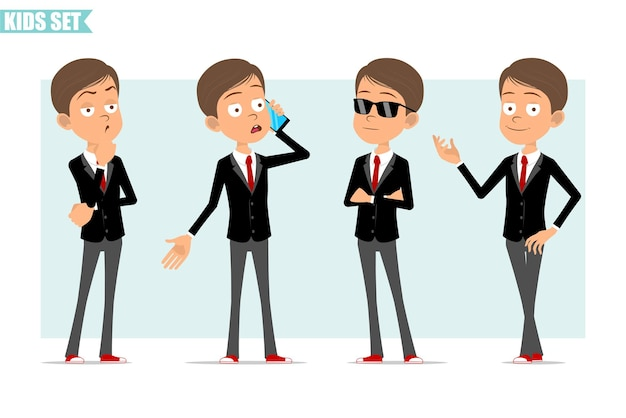 Karikatur flacher lustiger geschäftsjungencharakter in der schwarzen jacke mit roter krawatte. kind denkt, posiert und telefoniert. bereit für animation. auf grauem hintergrund isoliert. einstellen.