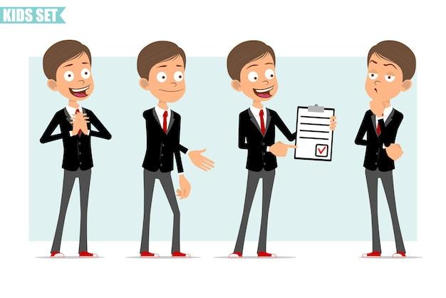 Karikatur flacher lustiger geschäftsjungencharakter in der schwarzen jacke mit roter krawatte. kind händeschütteln, zeigt zu tun liste mit aufgabe und roter markierung. bereit für animation. auf grauem hintergrund isoliert. einstellen.