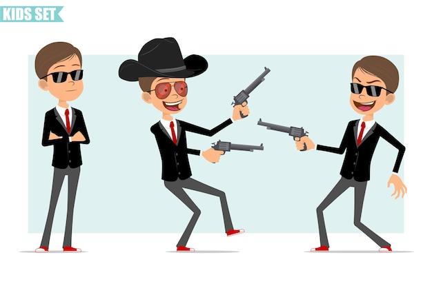 Karikatur flacher lustiger geschäftsjungencharakter in der schwarzen jacke mit roter krawatte. kind posiert, hält und schießt von alten retro-revolvern. bereit für animation. auf grauem hintergrund isoliert. einstellen.
