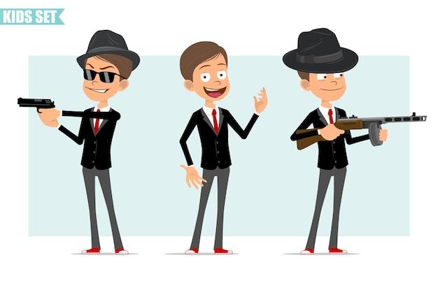 Karikatur flacher lustiger geschäftsjungencharakter in der schwarzen jacke mit roter krawatte. kind posiert, schießt retro-automatikgewehr und pistole. bereit für animation. auf grauem hintergrund isoliert. einstellen.