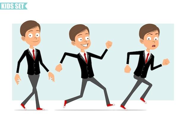 Karikatur flacher lustiger geschäftsjungencharakter in der schwarzen jacke mit roter krawatte. kind schnell gehen und vorwärts rennen. bereit für animation. auf grauem hintergrund isoliert. einstellen.
