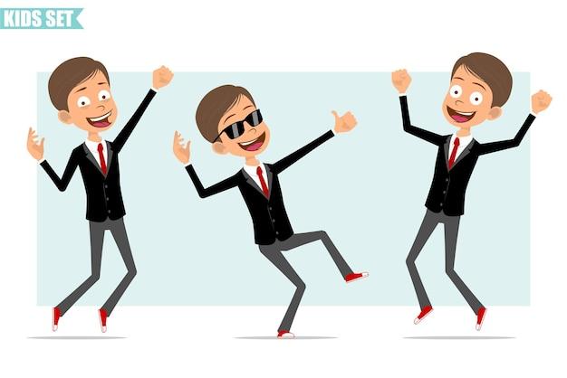 Karikatur flacher lustiger geschäftsjungencharakter in der schwarzen jacke mit roter krawatte. kind springt auf, tanzt und zeigt daumen hoch zeichen. bereit für animation. auf grauem hintergrund isoliert. einstellen.