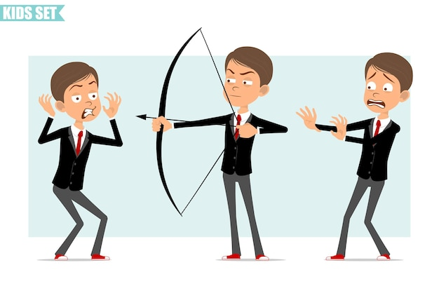 Karikatur flacher lustiger geschäftsjungencharakter in der schwarzen jacke mit roter krawatte. kind wütend, ängstlich und schießend vom bogen mit pfeil. bereit für animation. auf grauem hintergrund isoliert. einstellen.