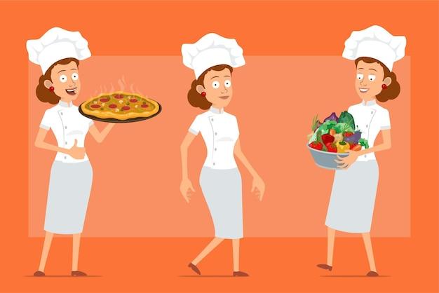 Karikatur flacher lustiger kochkochfrauencharakter in der weißen uniform und im bäckerhut. mädchen, das topf mit frischem gemüse und heißer pizza trägt.