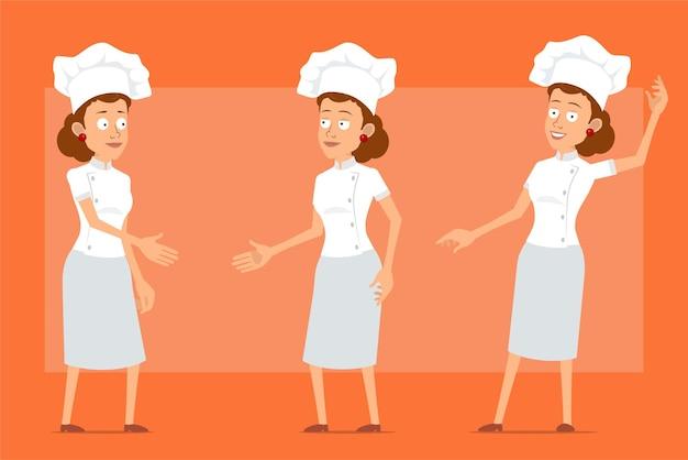 Karikatur flacher lustiger kochkochfrauencharakter in der weißen uniform und im bäckerhut. mädchen händeschütteln und hallo geste zeigen.