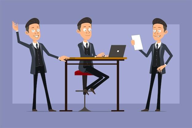 Karikatur flacher lustiger mafia-manncharakter im schwarzen mantel und in der sonnenbrille. junge arbeitet am laptop, liest notiz und zeigt hallo zeichen. bereit für animation. auf violettem hintergrund isoliert. einstellen.