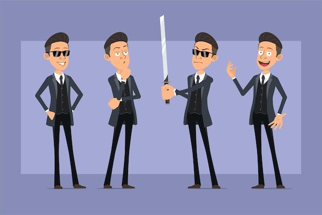 Karikatur flacher lustiger mafia-manncharakter im schwarzen mantel und in der sonnenbrille. junge denkt, posiert und hält asiatisches samuraischwert. bereit für animation. auf violettem hintergrund isoliert. einstellen.