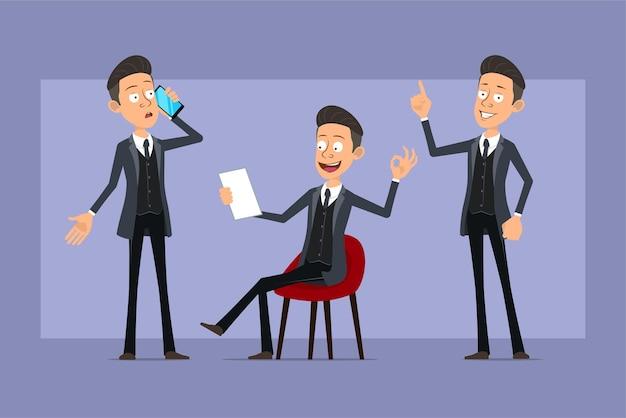Karikatur flacher lustiger mafia-manncharakter im schwarzen mantel und in der sonnenbrille. junge, der am telefon spricht, notiz liest und ok-zeichen zeigt. bereit für animation. auf violettem hintergrund isoliert. einstellen.