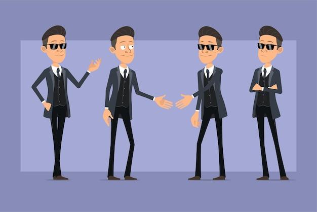 Karikatur flacher lustiger mafia-manncharakter im schwarzen mantel und in der sonnenbrille. junge, der auf foto aufwirft und hände schüttelt. bereit für animation. auf violettem hintergrund isoliert. einstellen.