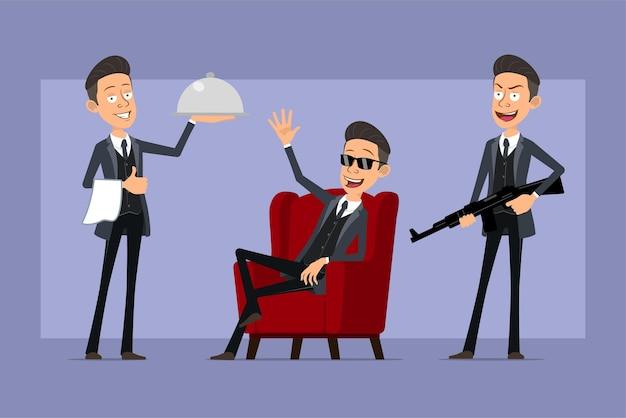 Karikatur flacher lustiger mafia-manncharakter im schwarzen mantel und in der sonnenbrille. junge hält kellner tablett, gewehr und zeigt hallo geste. bereit für animation. auf violettem hintergrund isoliert. einstellen.