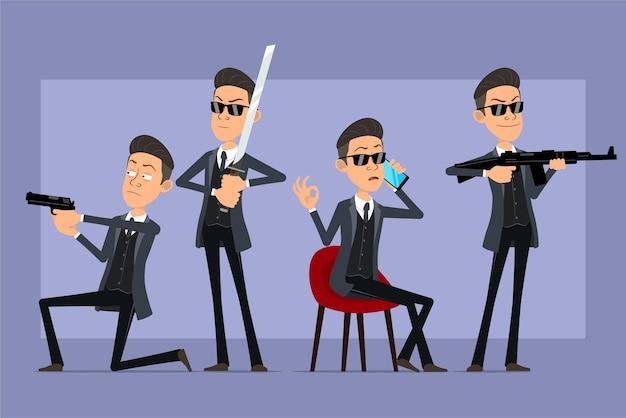 Karikatur flacher lustiger mafia-manncharakter im schwarzen mantel und in der sonnenbrille. junge hält schwert, schießt von pistole und automatischem gewehr. bereit für animation. auf violettem hintergrund isoliert. einstellen.