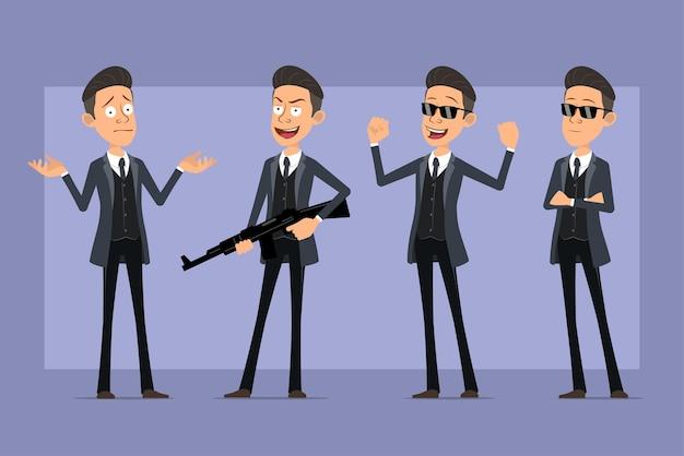 Karikatur flacher lustiger mafia-manncharakter im schwarzen mantel und in der sonnenbrille. junge posiert, zeigt muskeln und hält modernes automatisches gewehr. bereit für animation. auf violettem hintergrund isoliert. einstellen.