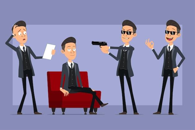 Karikatur flacher lustiger mafia-manncharakter im schwarzen mantel und in der sonnenbrille. junge schießt aus der pistole, liest notiz und ruht sich aus. bereit für animation. auf violettem hintergrund isoliert. einstellen.