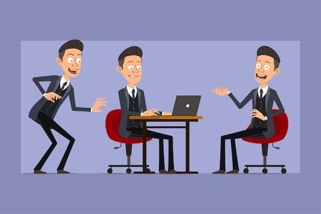Karikatur flacher lustiger mafia-manncharakter im schwarzen mantel und in der sonnenbrille. junge schleicht, ruht sich aus und arbeitet am laptop. bereit für animation. auf violettem hintergrund isoliert. einstellen.