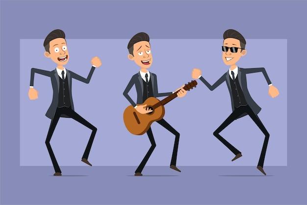 Karikatur flacher lustiger mafia-manncharakter im schwarzen mantel und in der sonnenbrille. junge springt, tanzt und spielt rock auf der gitarre. bereit für animation. auf violettem hintergrund isoliert. einstellen.
