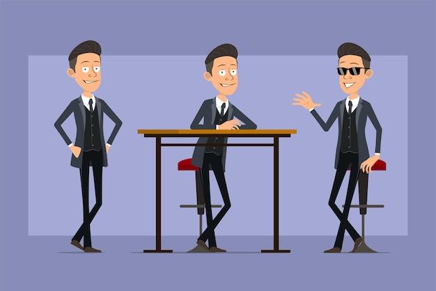 Karikatur flacher lustiger mafia-manncharakter im schwarzen mantel und in der sonnenbrille. junge stehend, posierend und zeigt hallo geste. bereit für animation. auf violettem hintergrund isoliert. einstellen.