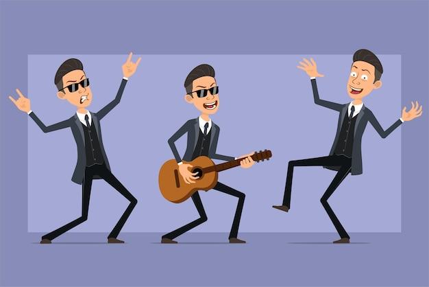 Karikatur flacher lustiger mafia-manncharakter im schwarzen mantel und in der sonnenbrille. junge tanzt, spielt auf der gitarre und zeigt rock'n'roll-zeichen. bereit für animation. auf violettem hintergrund isoliert. einstellen.