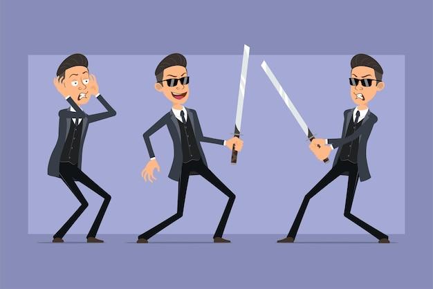 Karikatur flacher lustiger mafia-manncharakter im schwarzen mantel und in der sonnenbrille. junge wütend, hält und kämpft mit asiatischem samuraischwert. bereit für animation. auf violettem hintergrund isoliert. einstellen.