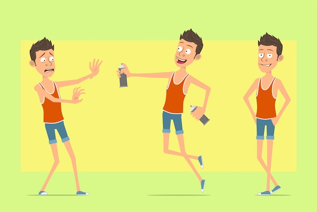 Karikatur flacher lustiger manncharakter im unterhemd und in den kurzen hosen. junge springt mit sprühfarbe kann.