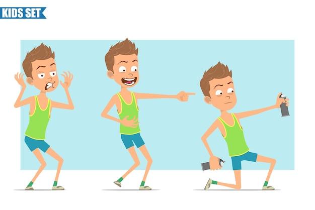 Karikatur flacher lustiger sportjungencharakter im grünen hemd und in den kurzen hosen. kind lacht und arbeitet mit sprühfarbe kann.