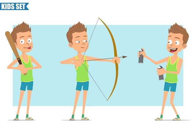 Karikatur flacher lustiger sportjungencharakter im grünen hemd und in den kurzen hosen. kind schießt vom bogen, hält baseballschläger und sprühdose.