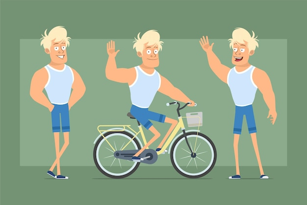 Karikatur flacher lustiger starker blonder sprotsman charakter im unterhemd und in den shorts. junge, der auf fahrrad fährt und hallo-geste zeigt. bereit für animation. auf grünem hintergrund isoliert. einstellen.