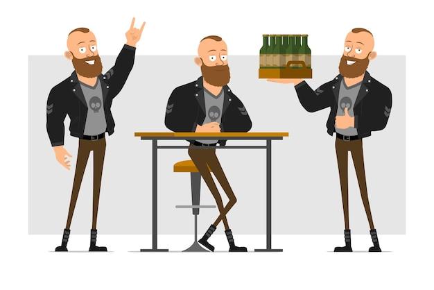 Karikatur flacher lustiger starker charakter bärtiger punkmann mit mohawk in der lederjacke. junge, der an kneipe ruht und schachtel bier hält.