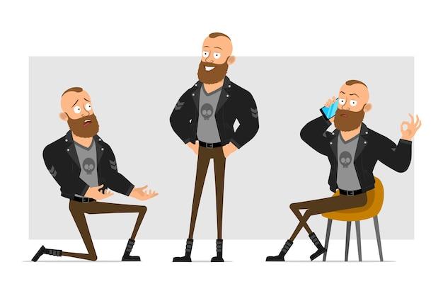 Karikatur flacher lustiger starker charakter bärtiger punkmann mit mohawk in der lederjacke. junge, der auf knie steht, lächelt und am telefon spricht.